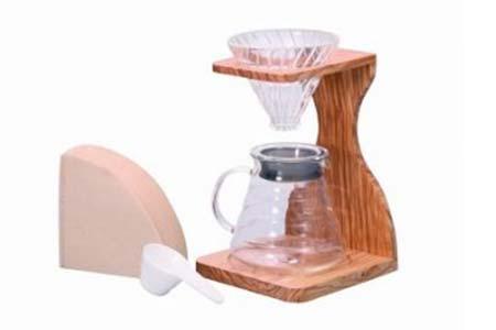 ハリオ V60オリーブウッドスタンドセット(コーヒーサーバー) イメージ