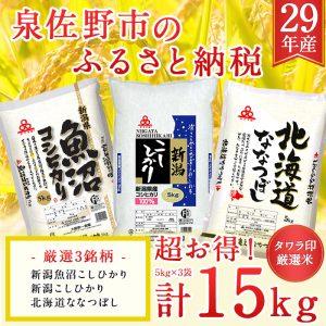 【ふるさと納税】29年産タワラ印厳選米5kg×3セット