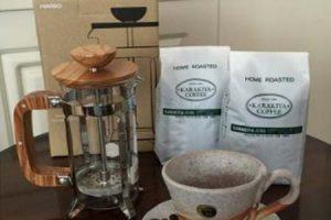 HARIO ハリオ カフェプレス・ウッド&直火自家焙煎コーヒー粉100g×2種
