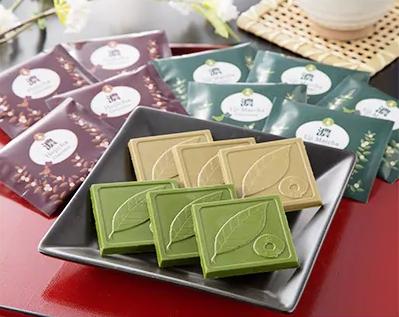 京都きよ泉の抹茶・ほうじ茶チョコレート(各20枚入り) イメージ
